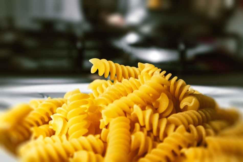 yellow spiral pasta